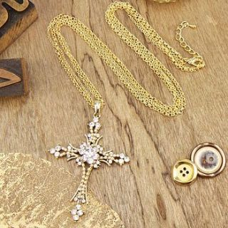 cross necklace in gold by lisa angel