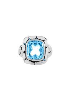 Medium Batu Kali Silver & Sky Blue Topaz Square Ring by John Hardy