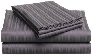 Pinzon 440 Thread Count 100 Percent Cotton Damask Stripe Queen Sheet Set, Aubergine