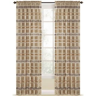 Style Selections Duran 84 in L Striped Straw Rod Pocket Window Curtain Panel