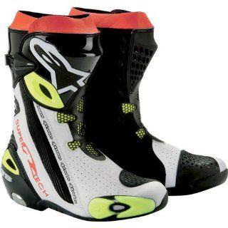 Alpinestars Supertech R Men's Race/High Performance Sports Bike Motorcycle Boots   Black/White/Yellow / Size 42 Automotive