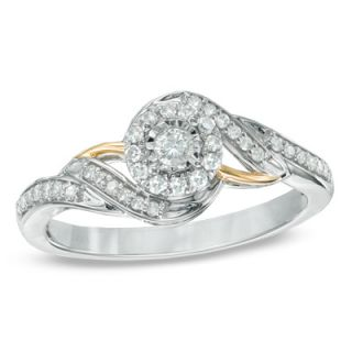 CT. T.W. Diamond Swirl Frame Promise Ring in 10K White Gold and