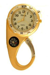 Clip on Watch Bag Pocket Watch W/compass & Back Light Gold Tone: Watches