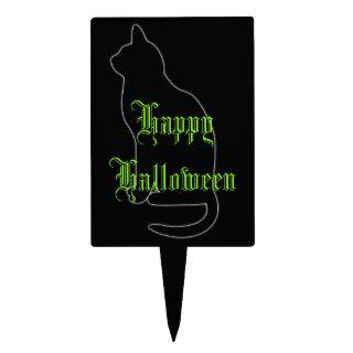 Black Cat Green Happy Halloween Cake Topper