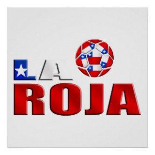 La Roja Chile futbol logo for soccer fans Posters