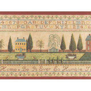 Country Cross Stitch Alphabet Sampler Colonial Wallpaper Border