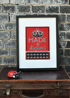 made in england screen print   red by mary fellows