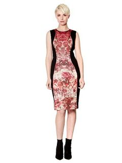 Pied a Terre Printed Ponte Panelled Dress Multi Coloured