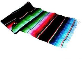 Large Authentic Mexican Saltillo Sarapes Throw Rugs Colorful Blanket Black/pink/blue   Sarapes Mexicanos