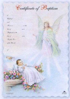 "100 Baptism Certificates in English, Guardian Angel   7"" x 10.5"" : Blank Certificates : Office Products"