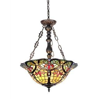 Chloe Lighting CH33389VR18 UH3 Tiffany Style Victorian 3 Light Inverted Ceiling Pendant 18 Inch Shade, Multi Colored