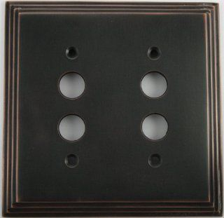 Deco Step Style Oil Rubbed Bronze Two Gang Push Button Switch Wall Plates Electronics