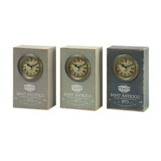 "Set of 3 Distressed Retro Style ""Sant' Antioco"" Roman Numeral Desk Clocks 8.75"""