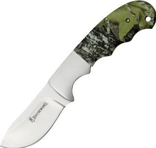 Browning Knives 513 Skinner Fixed Blade Knife with Rubberized Mossy Oak Break Up Camo Finish Finger Groove Handles : Fixed Blade Camping Knives : Sports & Outdoors
