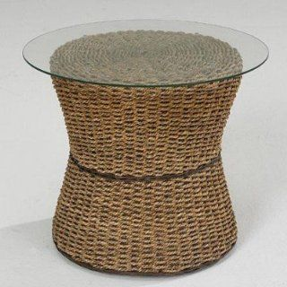 Cabana Banana Round Drum Accent Table With Glass Top Honey   Cabana Banana Furniture