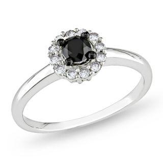 CT. T.W. Enhanced Black and White Diamond Frame Ring in Sterling