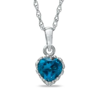 0mm Heart Shaped London Blue Topaz Crown Pendant in Sterling Silver