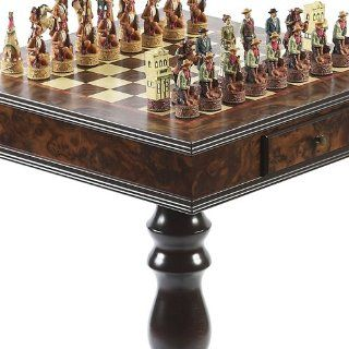 American West Hand Painted Chessmen & Frizoni Chess Table from Italy Toys & Games