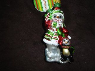 "Christopher Radko 5"" Snowman Christmas Ornament ""HOLLY JOLLY SNOW FUN""   Christmas Ball Ornaments"