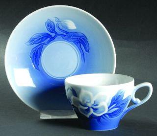Bing & Grondahl Christmas Rose Flat Cup & Saucer Set, Fine China Dinnerware   Wh