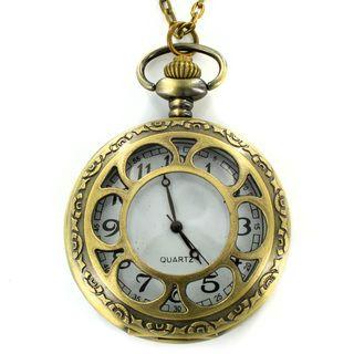 West Coast Jewelry Antiqued Bronzetone Flower Design Clock Necklace West Coast Jewelry Fashion Necklaces