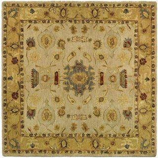 Safavieh AN543C Anatolia Collection 6 Feet Handmade Hand Spun Wool Square Area Rug, Ivory and Gold