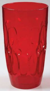 Fostoria Mesa Red Flat Iced Tea   Stem #4186, Red, Thumbprints