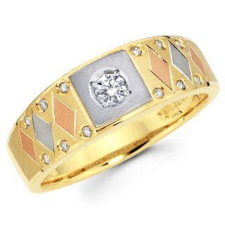 14K 3 Tri color Gold Round cut Diamond Men's Engagement Wedding Ring Band (0.24 CTW., G H Color, SI1 2 Clarity): The World Jewelry Center: Jewelry