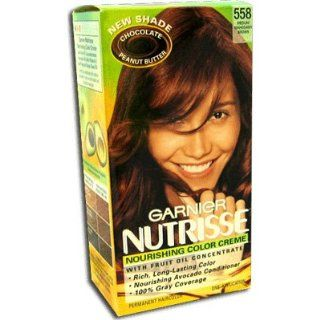 Garnier Nutrisse Permanent Creme Haircolor, #558 Chocolate Peanut Butter (Medium Mahogany Brown)   1 ea  Hair And Scalp Treatments  Beauty