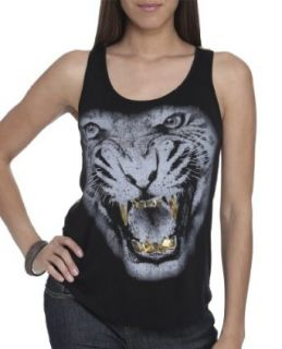 Wet Seal Women's Mean Tiger Lace Tank XS Black at  Women�s Clothing store