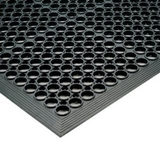 """NoTrax Rubber 562 Sanitop Anti Fatigue Drainage Mat, for Wet Areas, 3' Width x 10' Length x 1/2"""" Thickness, Black Floor Matting Industrial & Scientific"""