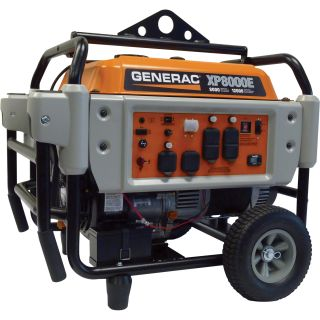 Generac® XP8000E Portable Generator — 10,000 Surge Watts, 8000 Rated Watts, Electric Start, CARB-Compliant, Model# 5935  Portable Generators