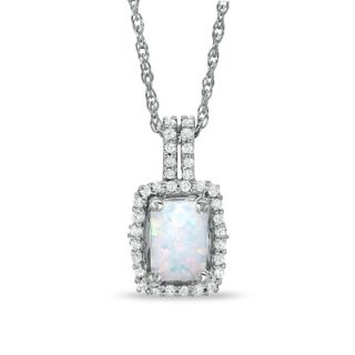Cushion Cut Lab Created Opal and White Topaz Framed Pendant in