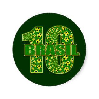 Brasil 10   Brazil number 10 soccer futbol gifts Stickers