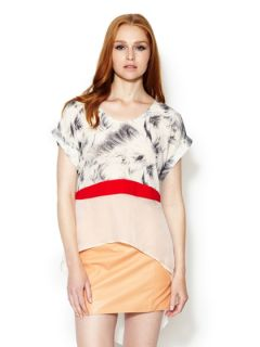 Maggio Silk Colorblock Blouse by Stella & Jamie