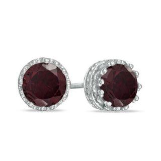 0mm Garnet Crown Earrings in Sterling Silver   Zales