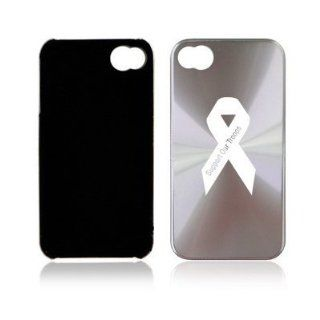 Silver Apple iPhone 4 4S 4G A2224 Aluminum Hard Back Case Support Our Troops Ribbon: Cell Phones & Accessories