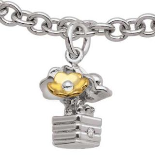 Tween Diamond Accent Flower Pot Charm Bracelet in Sterling Silver and