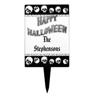 Happy Halloween BW Name Skulls Cake Topper