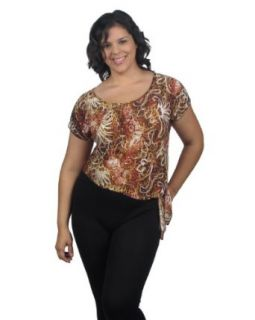Plus size fashion short sleeve round neck asymmetrical top w/decorative side tie at  Women�s Clothing store