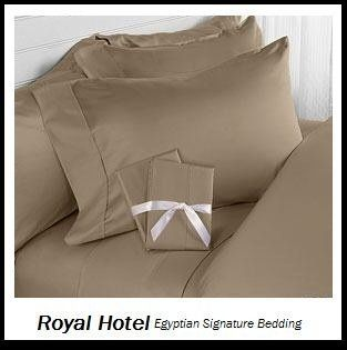 Royal Hotel's Solid Taupe 600 Thread Count 4pc Olympic Queen Bed Sheet Set 100 Percent Egyptian Cotton, Sateen Solid, Deep Pocket