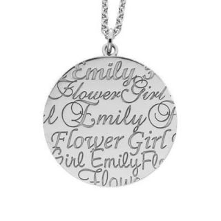 Alison & Ivy Flower Girl Name Pendant in Sterling Silver (8