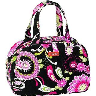 Sachi Black And Pink Floral Cosmo Style Insulated Lunch Bag   Reusable Lunch Bags