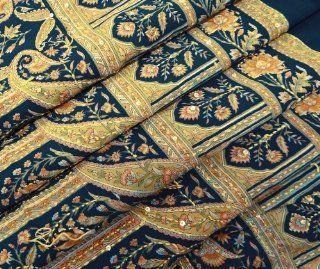 Vintage Saree Crepe Silk Recycled Fabric Kantha Embroidered Curtain Drape Women Wrap Dress Blue 5YD Indian Sari