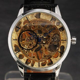 Golden Skeleton Mechanical Movement New Luxury Sport Men Wrist Watch Blk Leather: Watches
