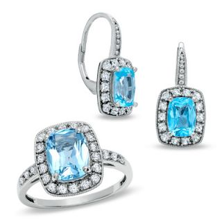 Cushion Cut Blue Topaz and Lab Created White Sapphire Frame Ring in