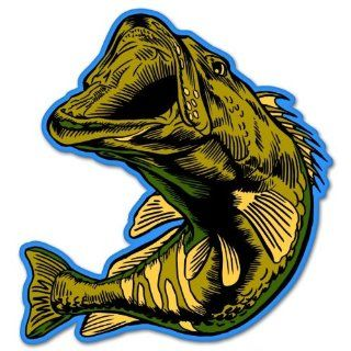 "Largemouth Bass Fish car bumper sticker window decal 4"" x 4"" Automotive"