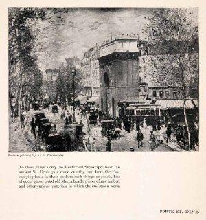 1925 Print Porte St Denis Abel George Warshawsky Francois Blondel Street Scene   Original Halftone Print