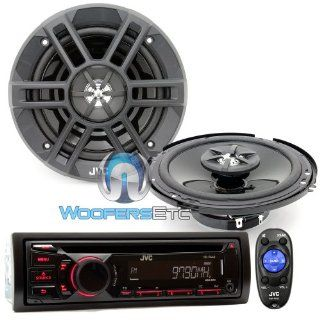 """Brand New JVC Package Car Stereo Receiver  WMA CD Player (KD R440) + 6.5"""" 2 way Car Speakers (CS XM621)  Vehicle Receivers"""