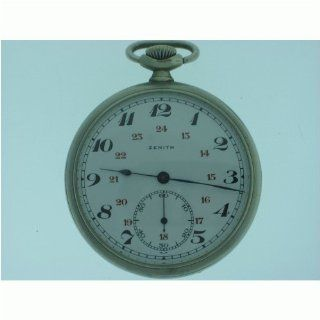 Vintage/Antique watch: Pre Owned Man's Zenith Pocket Watch White Enamel 24 Hour Dial Stainless Steel 1920's at  Men's Watch store.